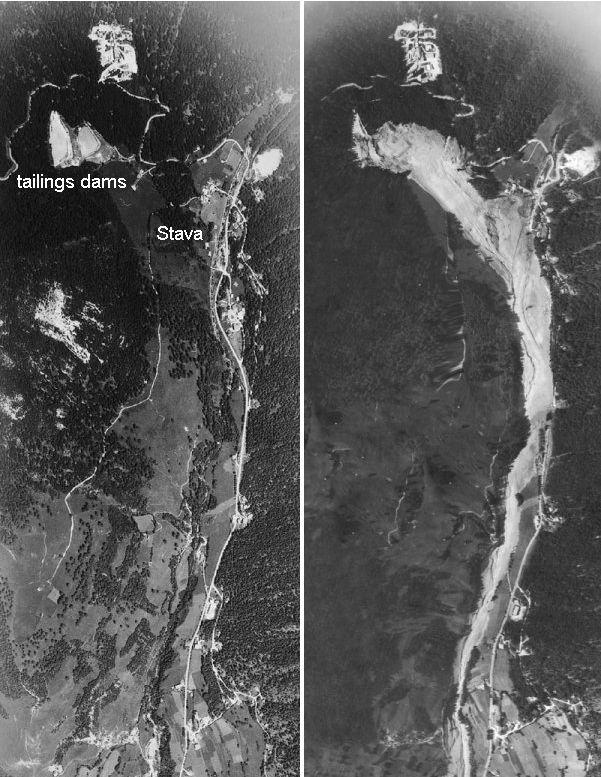 Imágen satelital del antes y el después de la unhundación.