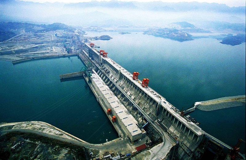 Imágen aerea de la hidroeléctrica de Las Tres Gargantas.